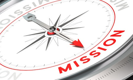 41950474 - compass with needle pointing the word mission. conceptual illustration part one of a company statement, mission, vision and value.