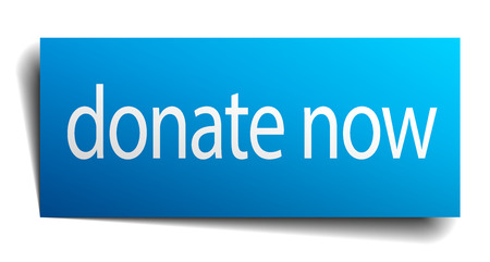 39815108 - donate now blue paper sign on white background