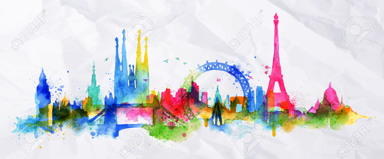 Silhouette overlay city with splashes of watercolor drops streaks landmarks in pink with orange tones