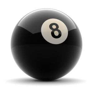 15658284 - pool black ball number eight rendered on solid white background