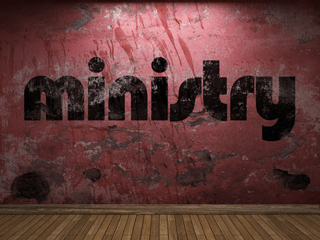 56279868 - ministry word on red wall